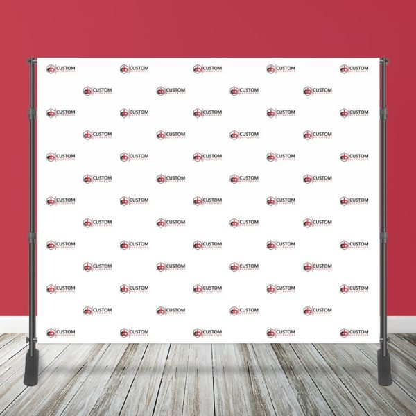 10' x 8' Step and Repeat Logo Media Wall with Stand